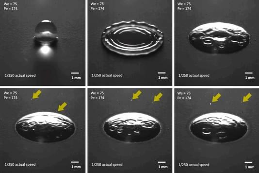 De impact van een druppel op de aarde en het ontstaan van kleine deeltjes, de zogenoemde aërosols.