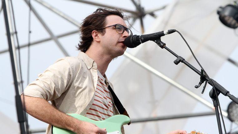 Martin Courtney tijdens een concert in Chili in november 2014. Beeld anp