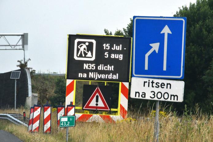 De N35 tussen Nijverdal en Raalte gaat drie weken lang dicht.