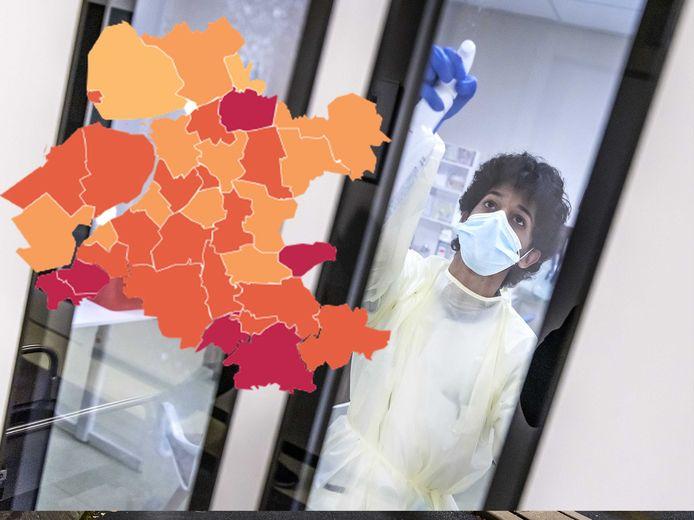 Rijssen-Holten kleurt donkerrood na tientallen nieuwe besmettingen.