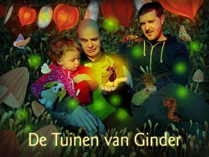 Rieks Veenker (midden) met kleindochter Nora en de Mier van Welkom op zijn hand, rechts illustrator Coen Hamelink.