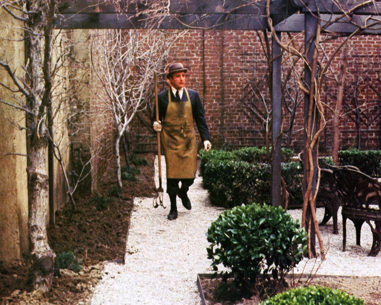 Peter Sellers in Being There (1979) als tuinman die verzeild raakt in politieke kringen. Beeld Alamy Stock Photo