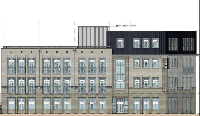 Zo gaat de gevel van het bouwplan Kleine Vos met zeventien studio's eruitzien.