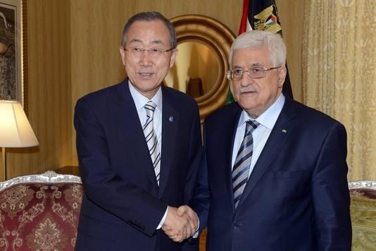 Ban Ki-moon et Mahmoud Abbas, président de l'Autorité palestinienne