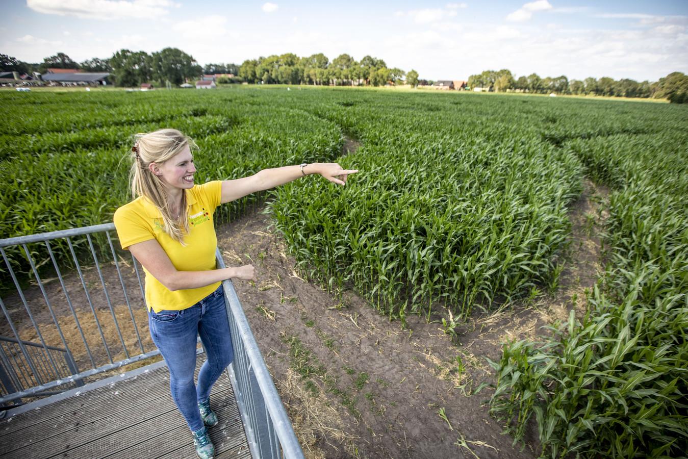 Initiatiefneemster Jacquelien bij het maisdoolhof in Fleringen.