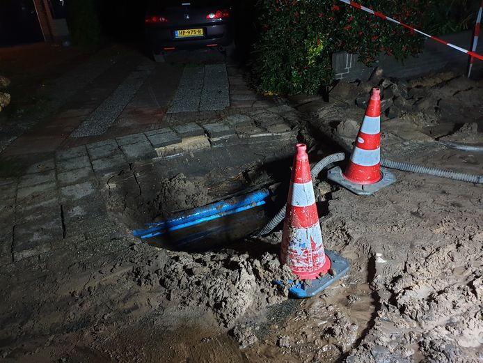 Waterleiding gesprongen in Bilthoven.
