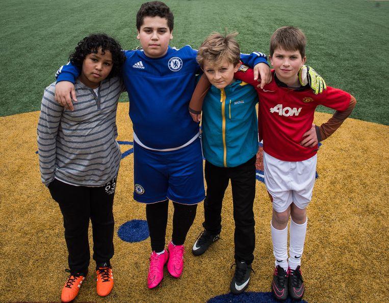 Vlnr: Melvin van Wel (10), Jaïr Grishaver (13), Alexander Bouwma (11) en Sem Kalkwurf (12). Beeld Mats van Soolingen