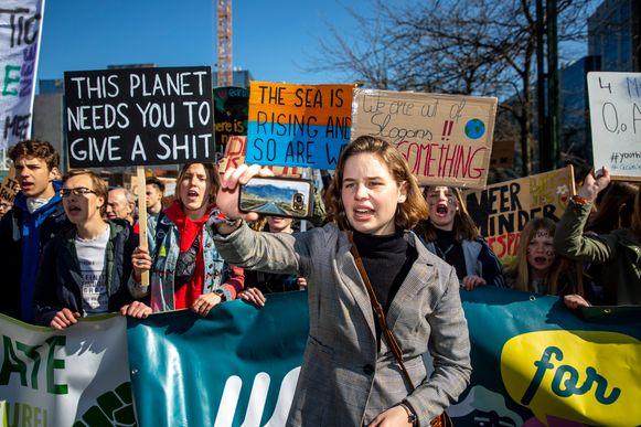 Anuna De Wever gisteren tijdens de dertiende klimaatbetoging van Youth For Climate