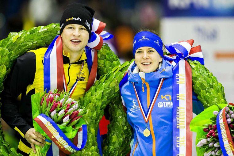 Sven Kramer (links) en Ireen Wüst. Beeld anp