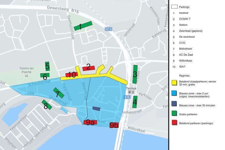 In een eerste fase wordt de blauwe zone gevoelig uitgebreid naar het zuiden van het winkelkerngebied. In een volgende fase gebeurt hetzelfde naar het noorden.