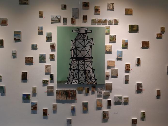 Werk van Rik van Iersel (midden) en Martin Voorbij in het Academisch Genootschap in Eindhoven.