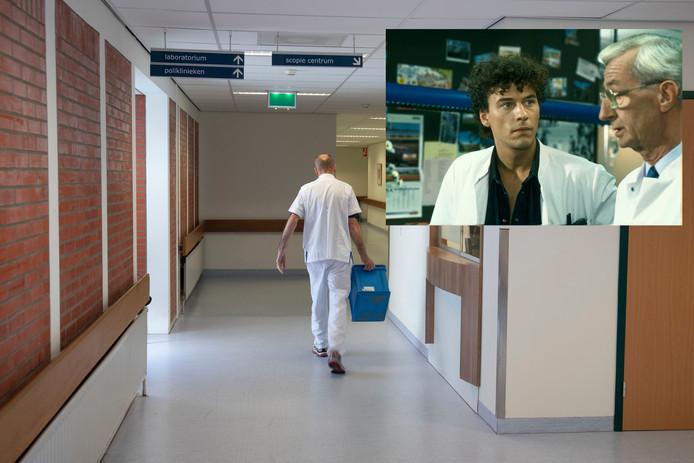 Een lege gang in het ziekenhuis in Lelystad. Inzet: acteur Marc Klein Essink (l) in de soapserie Medisch Centrum West. De populaire tv-serie werd opgenomen in het Lelystadse ziekenhuis.
