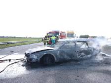 Bestuurster en hond op tijd uit brandende auto bij botsing op A15; file richting Nijmegen