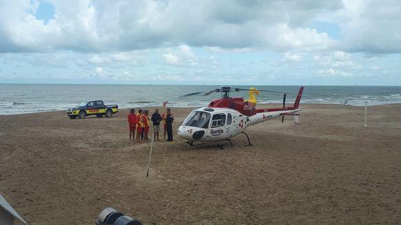 Archieffoto. De mughelikopter op het strand van Westende.