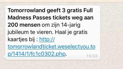"""Tomorrowland waarschuwt: """"Actie voor gratis tickets via Whatsapp is vals"""""""