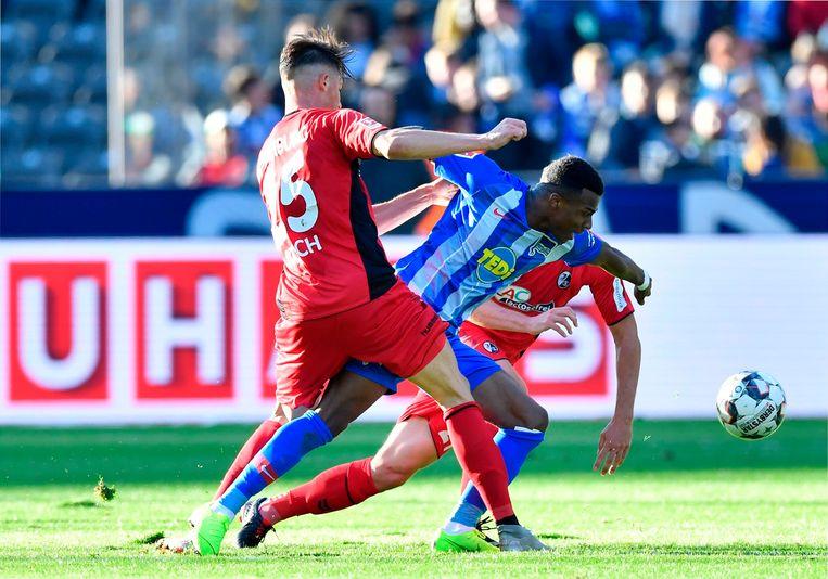 Javairo Dilrosun duelleert namens Hertha BSC met verdediger Robin Koch van Freiburg. Beeld AFP
