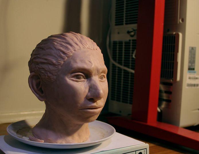 Een reconstructie van het gezicht van een jonge vrouwelijke Denisovamens.