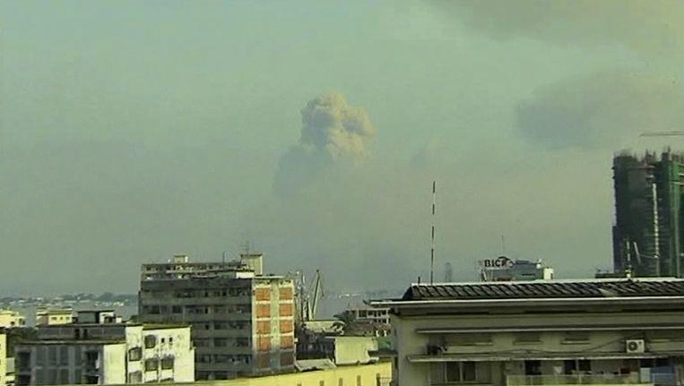 De explosies gezien vanuit Kinshasa, aan de andere oever van de rivier de Congo. Beeld ap