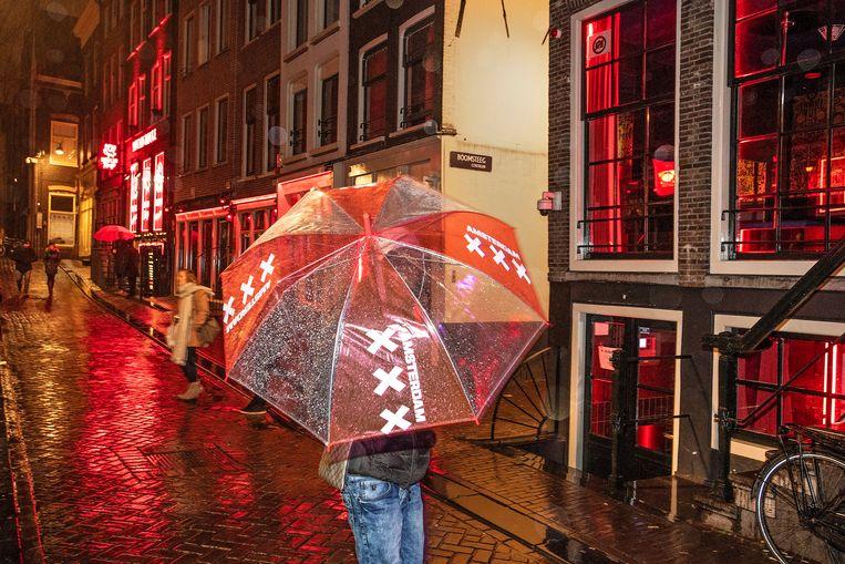 Het pand van 'My Red Light' op de Oudezijds Achterburgwal, naast de Boomsteeg. Toeristen zwermen langs de dames van 'Plezier'. Beeld Guus Dubbelman/de Volkskrant