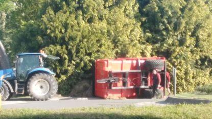 Tractor iets te snel over rotonde: aanhangwagen vol mest kantelt om