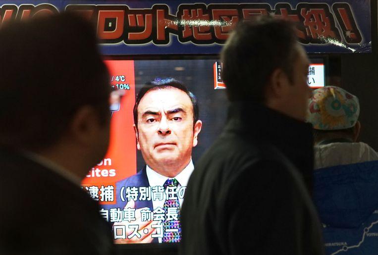 In Japan was de arrestatie van de topman van Renault en Nissan groot nieuws. Beeld AFP