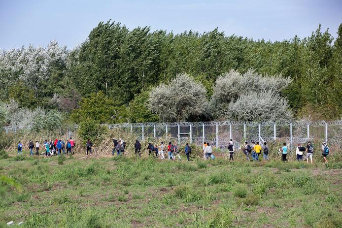 Vluchtelingen kunnen niet voorbij de grens tussen Servie en Hongarije.