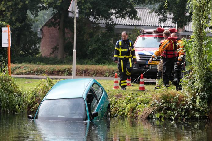 De auto raakte te water op de Dokter Schoyerstraat.