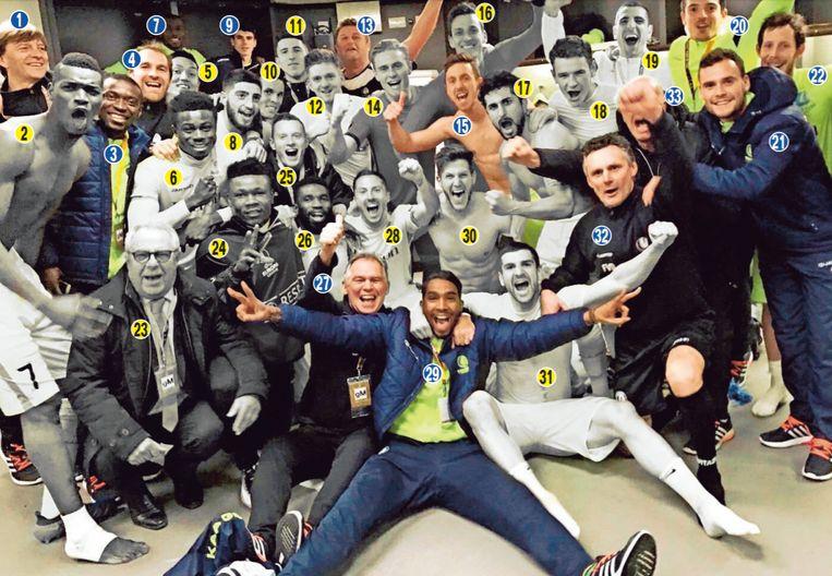 23 februari 2017: feest in de kleedkamer na de kwalificatie bij Tottenham
