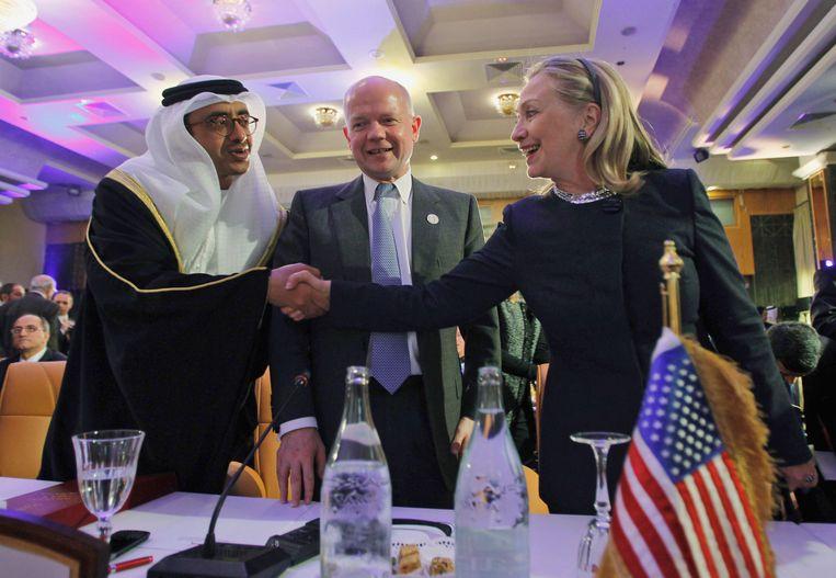 Minister van Buitenlandse Zaken Sheikh Abdullah bin Zayed (links). Beeld ap