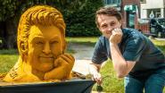 Qmusic-dj Maarten Vancoillie krijgt zandsculptuur van eigen hoofd als verjaardagscadeau