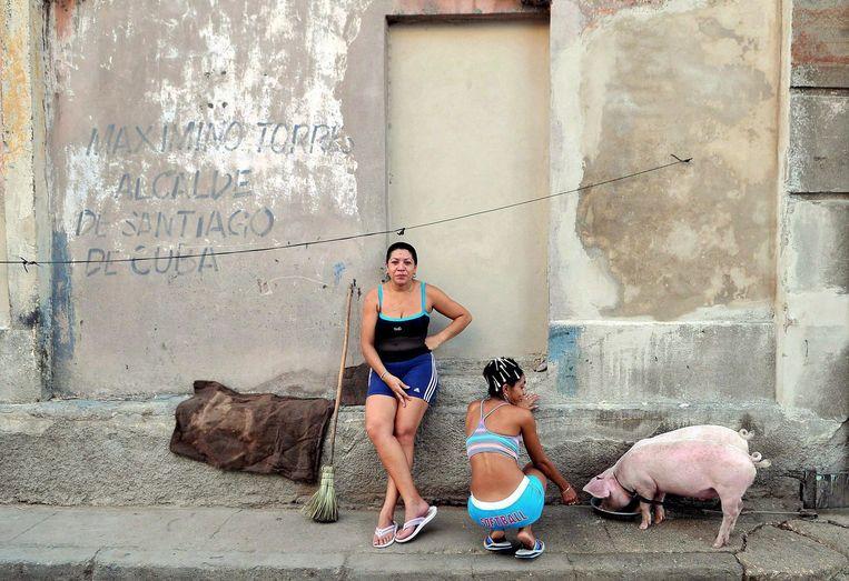 Santiago de Cuba, 2008: vrouwen geven varken te drinken. Beeld ALEJANDRO ERNESTO  / EPA