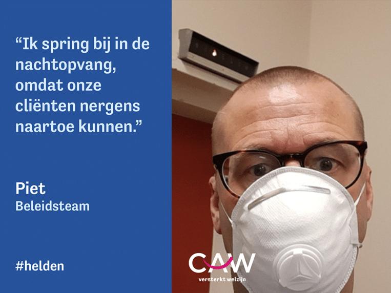 Het CAW deed een oproep aan collega's om selfies in te sturen in hun bijzondere werksetting.