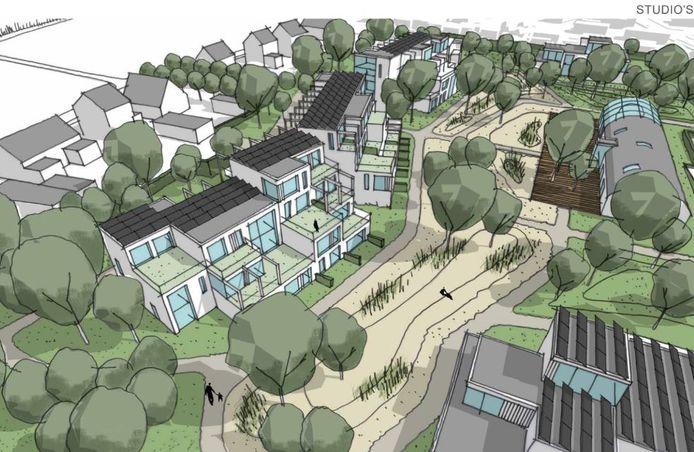 Een schets van de nieuwe woonwijk in Silvolde.