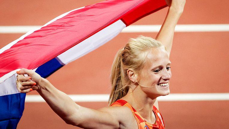 Anouk Vetter wordt derde en wint daarmee brons tijdens de zevenkamp op het WK atletiek. Beeld anp