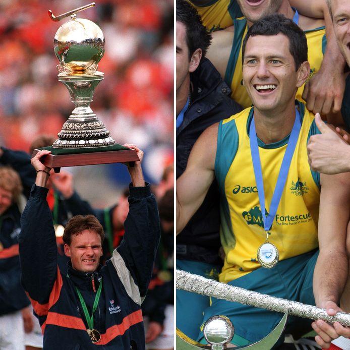 Stephan Veen met de wereldbeker in 1998 en Jamie Dwyer met zijn gouden medaille op de Champions Trophy in 2011.