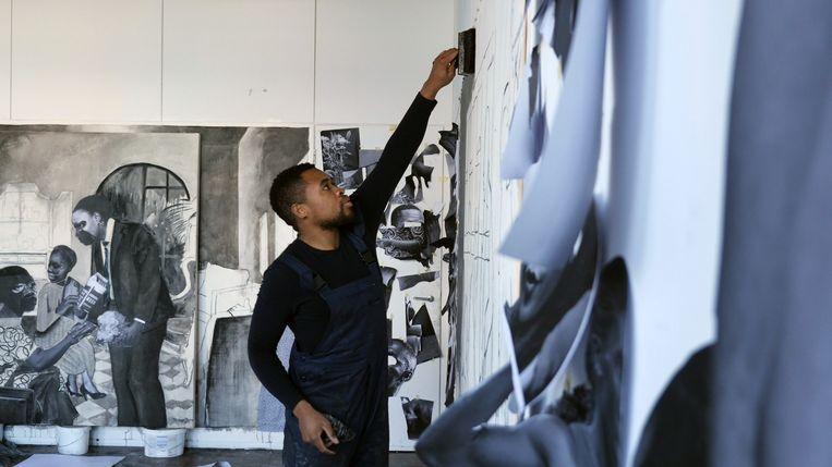 De Zuid-Afrikaanse kunstenaar Neo Matloga. Beeld -
