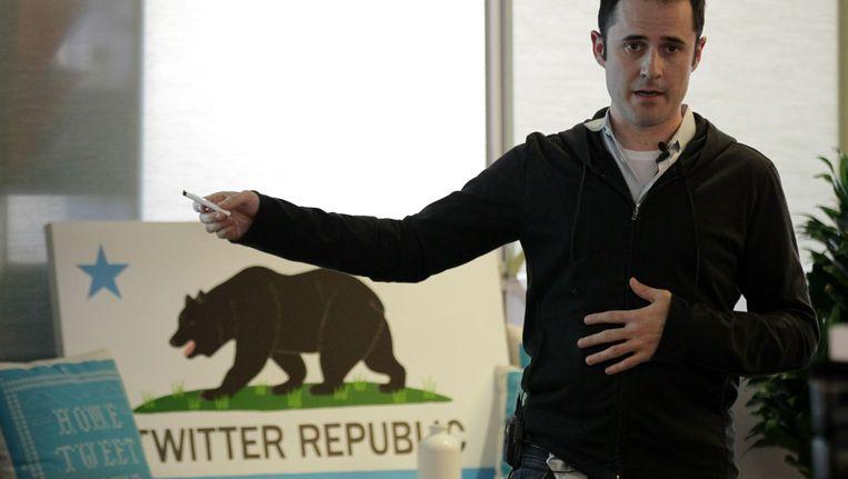 Twitteroprichter Evan Williams in het hoofdkantoor van Twitter. Beeld AFP
