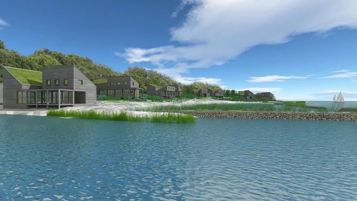 Impressie van één van de dertien kunstmatige eilandjes in de Grevelingen bij de Brouwersdam, die zouden worden aangelegd voor bouw van 315 luxe vakantiewoningen.