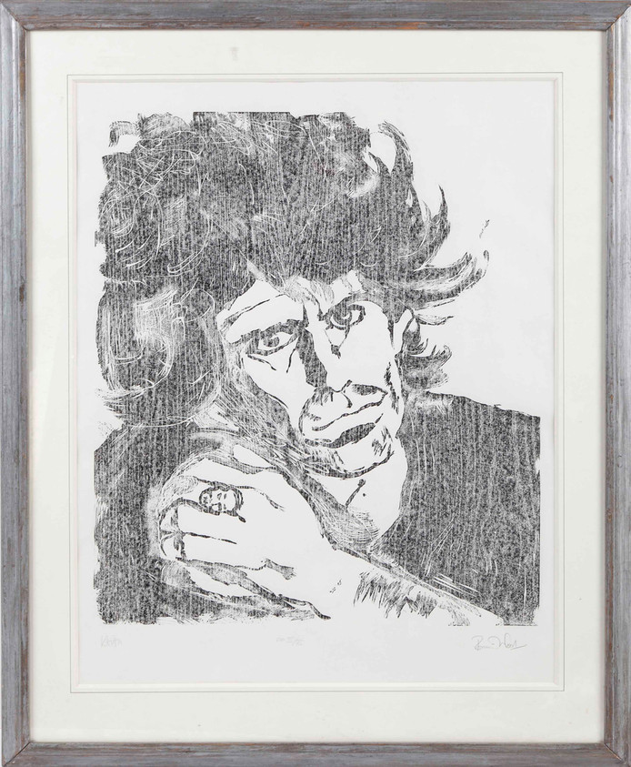 Portret van Stones-medegitarist Keith Richards door Ronnie Wood.