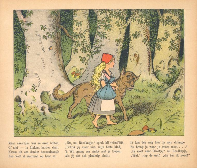 'Roodkapje, een sprookje in plaatjes naar L. Meggendorfer.' (1907) Beeld