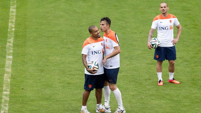 Blikvangers van het 'oude' Oranje: Nigel de Jong, Robin van Persie en Wesley Sneijder.