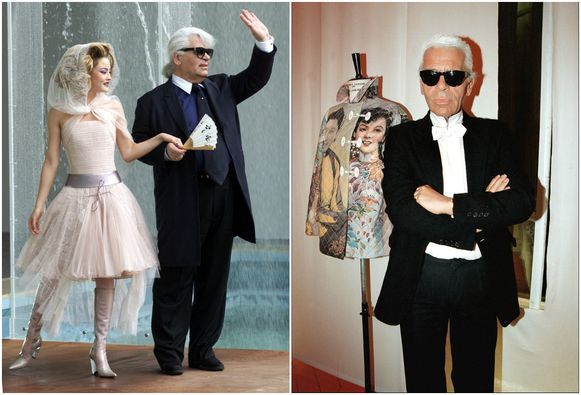 Links: Lagerfeld in 2000, rechts Lagerfeld in 2001.