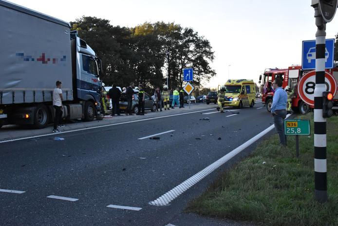 De auto van de Hardenberger Roland Strijker kwam in botsing met de vrachtwagen.
