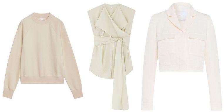 Beige sweater van Arket € 39  Mouwloze top van COS € 89  Kort jasje van Ivy Oak € 139 Beeld