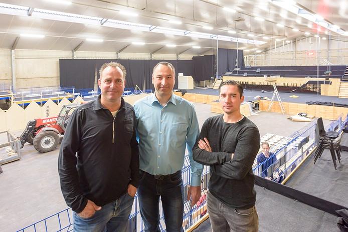 Thwan van Gennip, John van Asten en Jan van Lieshout jr (vlnr) werken mee aan Lierop Live.