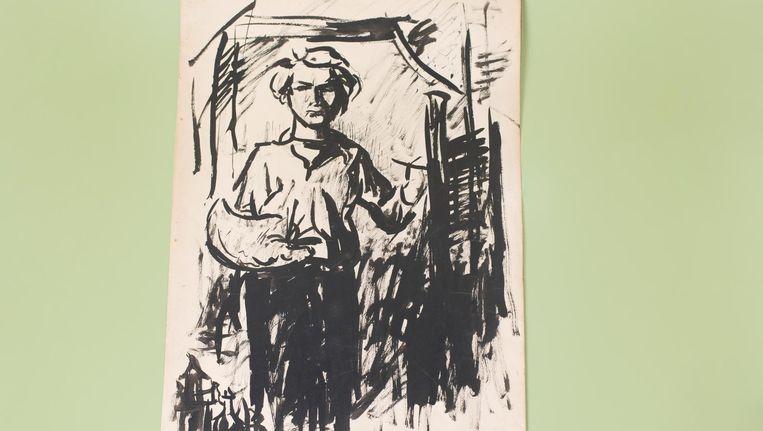 Zelfportret Jan Wolkers met palet en penseel, 1944. Beeld Annabel Miedema