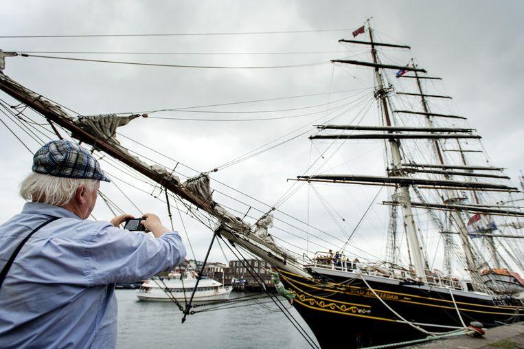 Schepen in de haven van IJmuiden voor aanvang van Sail Amsterdam 2015. Beeld anp