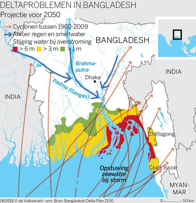 Overstromingsrisico voor 2050 in Bangladesh. Beeld Mike Roelofs