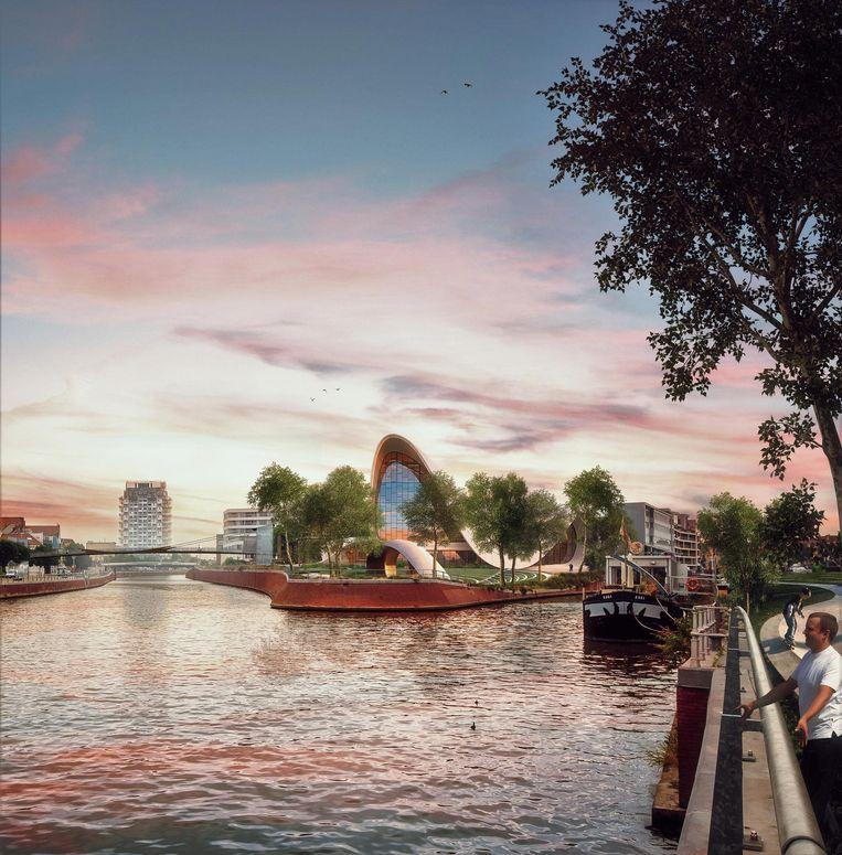 Team Burgemeester koestert verregaande plannen voor een bib, cultureel congrescentrum en School of Arts op de tip van het Buda-eiland.