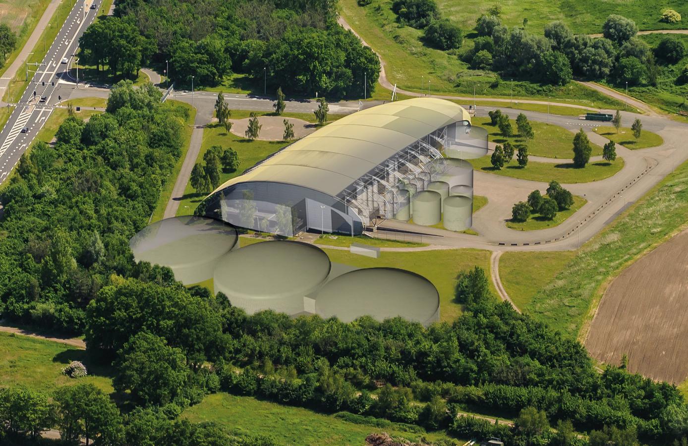 Een impressie van de toekomstige mestfabriek die Twence mag bouwen.